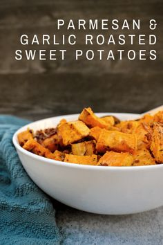 Parmesan & Garlic Roasted Sweet Potatoes Potluck Side Dishes, Side Dishes For Chicken, Vegetarian Side Dishes, Best Side Dishes, Potato Dishes, Dinner Dishes, Vegetable Side Dishes, Easy Potato Recipes, Side Dish Recipes