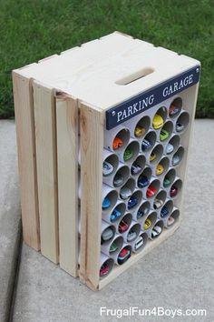 DIY Wooden Crate Parking Garage for Hot Wheels Cars