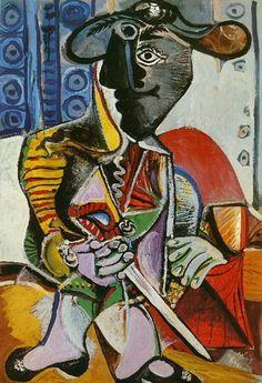 Artist: Pablo Picasso Completion Date: 1970 Style: Cubism, Surrealism Period: Later Years Genre: portrait Technique: oil Material: canvas Dimensions: 195 x 130 cm. Kunst Picasso, Art Picasso, Picasso Paintings, Portraits Cubistes, Cubist Portraits, Hand Painting Art, Watercolor Paintings, Landscape Paintings, Acrylic Paintings
