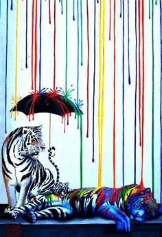 This is painted on a building in Carlsbad Ca #streetart #art #painting #mural #tigers #summers #umbrella