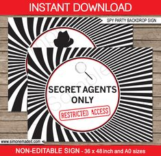 Spy Party Backdrop Sign | Secret Agents Only - Restricted Access | Printable DIY Template | Party Decorations | $4.50 Instant Download via SIMONEmadeit.com
