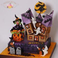 Happy Halloween - Cake by Viorica Dinu Bolo Halloween, Halloween Diorama, Halloween Cakes, Halloween Design, Cute Halloween, Holidays Halloween, Halloween Treats, Halloween Pumpkins, Cupcakes