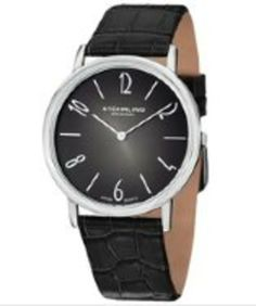 Stuhrling Original Men's Quartz Cuvette Contra Black Dial Black Leather gifters.com Stuhrling Watches