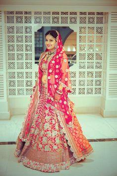 Bride- Khushboo Bajaj Chaturvedi Makeup & Hair- Ojas Rajani  Lehenga by Anamika Khanna