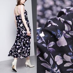 Floral Leaf Leaves Print Navy Blue 100% Silk Crepe de Chine Fabric Width 43 inch Silk Chiffon Fabric, Georgette Fabric, Silk Charmeuse, Silk Crepe, Leaf Prints, Floral Prints, Mulberry Silk, Apparel Design