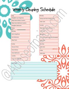 Free Printable Cleaning Schedule - A Dose of Paige