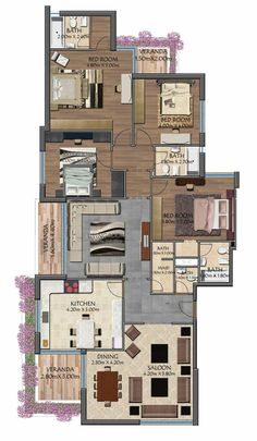 Trendy house plans 4 bedroom modern home Three Bedroom House Plan, Family House Plans, Dream House Plans, Small House Plans, House Floor Plans, Home Design Floor Plans, Home Building Design, Plan Design, Circle House