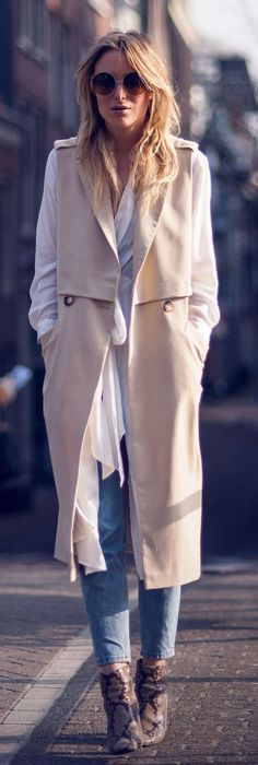Long Over Long Outfit Ideas: Rebecca Laurey is wearing a white H&M chiffon dress over River Island skinny jeans... | Style Inspiration
