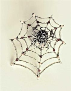 spider and web pin brooch