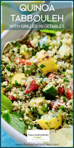 Quinoa Tabbouleh with Grilled Vegetables is a twist on traditional tabbouleh that has summer written all over it! Made gluten-free by using quinoa instead of bulgur, grilled zucchini, yellow squash and red bell peppers are the perfect addition to this light, lemony Middle Eastern-inspired salad! Side Salad Recipes, Healthy Salad Recipes, Side Dish Recipes, Gourmet Recipes, Whole Food Recipes, Vegetarian Recipes, Cooking Recipes, Grilled Zucchini, Grilled Vegetables