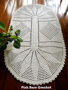 PINK ROSE CROCHET /: Tapete Oval de Crochê com Barbante