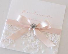 Blush Vintage Antique Lace & diamante button Invitation
