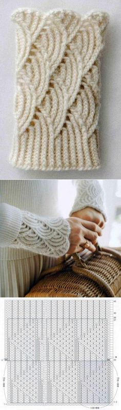 detachable Lace Cuffs ~~ A little like Pomatomus Socks - chart only, from a Russian source. Lace Knitting Patterns, Knitting Stiches, Knitting Charts, Knitting Designs, Knitting Socks, Crochet Stitches, Hand Knitting, Simple Knitting, Crochet Pullover Pattern