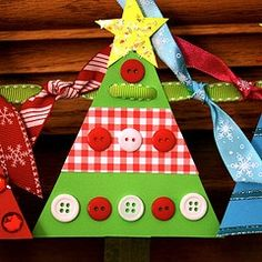 potential Christmas Craft, not the garland but just one tree for each child to make with ribbons and buttons.