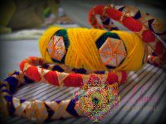 Silk Thread Bangles Design, Silk Bangles, Thread Jewellery, Fabric Jewelry, Gota Patti Jewellery, Beige Necklaces, Kutch Work, Bangles Making, Homemade Jewelry