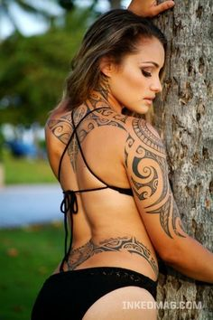 Large back/arm maori tat Large tribal tats may not sound appropriate for women, but this Maori tat on the back and arm is feminine and attractive. Back and half-sleeve maori tattoo for women This chick certainly isn't afraid of a little ink! When she hit the tattoo parlor, she opted for ...