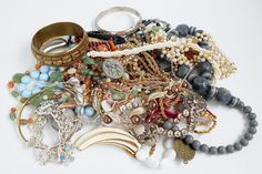 CRAFT Vintage Junk Jewelry Lot Parts and Pieces Over 1 Pound  #JewelryParts
