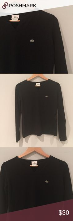 "Auth Women's Lacoste Black Wool Sweater Sz. 40 In Great Condition ~Authentic~ Lacoste Sweater. 85% Wool 15% Polyester. Sz. 40 Will for size 10/12. Measures 19"" across Bust laying flat. Sleeve Length is 24"". All items come from a smoke and pet free home. Lacoste Sweaters Crew & Scoop Necks"