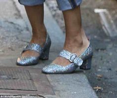 Sparkle: Adding some effortless glamour, she capped the understated look with a pair of designer sunglasses and some silver, glittery, Mary-Jane heels Sarah Jessica Parker Shoes, Mid Heel Shoes, Mary Jane Heels, Silver Shoes, Carrie Bradshaw, Carry On, Footwear, Loafers, Pairs