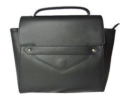 Sac besace en cuir noir BETTY | Saheline.com