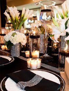 Gold Wedding, Wedding Table, Dream Wedding, Wedding Ideas, Black Tablecloth Wedding, Diamond Wedding Theme, Black Silver Wedding, Great Gatsby Wedding, Crystal Wedding
