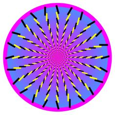 Black and yellow sticks draw you to the center of this colorful optical illusion