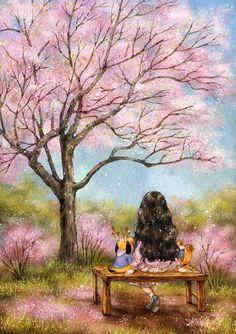 Illustration by South Korean artist Aeppol / Grafolio 이미지 뷰어입니다. Forest Illustration, Illustration Mode, Illustrations, Art Anime Fille, Anime Art Girl, Girls Diary, Forest Girl, Korean Artist, Whimsical Art