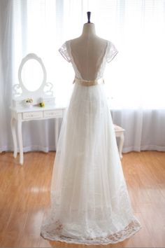 Love the back of this dress. Claire Pettibone Vintage Inspired Tulle Lace Wedding Dress Cap Sleeves Backless Open V Back Bridal Gown. $359.00, via Etsy.