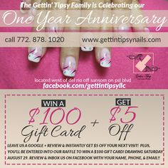 Leave us a review on Google + and ENTER FOR A CHANCE TO WIN A $100 GIFT CARD! (Must inbox us on www.facebook.com/gettintipsyllc with your name, email, and phone). Also, you get $5 off instantly on your next visit! Can't miss this!!