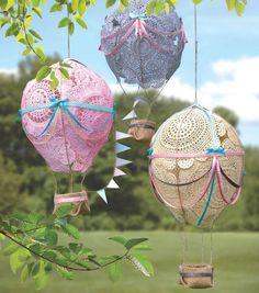 Decorar um jardim com estes balões de ar quente adoráveis! -  /  Decorate a garden with these adorable hot air balloons!