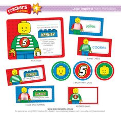 LEGOINSPIRED Party  BASIC Printable Package by crackersart on Etsy, $40.00