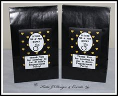 Party Bags #Gold #Glitter #Black #Hearts #Engagement #Party #Colour #Schemes #Bunting #Party #Decorations #Ideas #Banners #Cupcakes #WallDisplay #PopTop #JuiceLabels #PartyBags #Invites #KatieJDesignAndEvents #Personalised #Creative