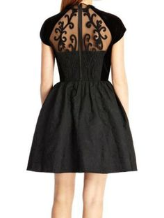 Charming Round Collar Voile Splicing Short Sleeves Black Dress