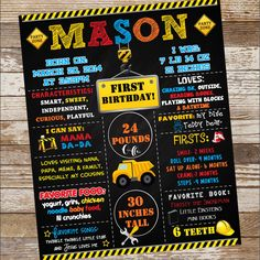 Construction Birthday Poster by EmiJaiDesigns on Etsy Custom Birthday Invitations, Construction Birthday, Birthday Board, Milestone Birthdays, First Love, Custom Design, Handmade Gifts, Poster, Etsy