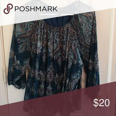 I-N-C Tunic Tunic with 3/4 sleeve, teal with brown and cream accents Tops Tunics