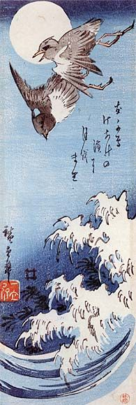 Japanese Swallows above Wave