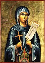 "Venerable Paraskeva (Parascheva / Petka) of the Balkans - Troparion — Tone 4 ""You are worthy of praise, Paraskeva. You loved the ascetic and hesychast. Catholic Saints, Patron Saints, Religious Icons, Religious Art, Saint Joseph School, Becoming A Monk, Greek Icons, Sign Of The Cross, Religious Paintings"