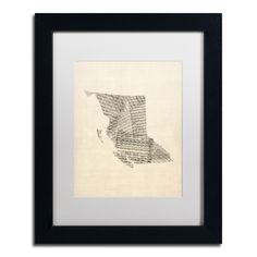 Sheet Music Map British Columbia by Michael Tompsett Framed Graphic Art in White