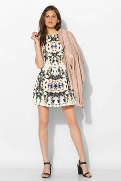 Finders Keepers Unbelievers Mirror-Print Fit + Flare Dress