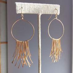 Gold Fringe Earrings by HeidiKiddjewelry on Etsy https://www.etsy.com/listing/252691869/gold-fringe-earrings