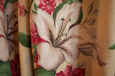 Vintage 1940s BARKCLOTH Curtain Panel with Hibiscus Flowers
