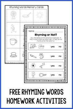 "Download this free rhyming words memory game and ""Rhyming or Not"" worksheet - perfect for a Kindergarten homework assignment!  The game comes with parent directions in English and Spanish."