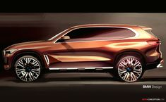 """The all-new BMW SUV has been revealed ahead of its official global launch later on in November this year. The German manufacturer is describing the design of the refreshed model as """"clean and precise"""", with the the fourth generation of the BMW X […] Bmw X5, Bmw Design, Car Design Sketch, Bmw Sketch, Car Side View, Automobile, New Bmw, Car Tuning, Transportation Design"""