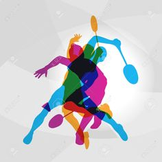 Modern badminton players in action logo. color silhouettes of badminton players, sports poster background Sports Basketball, Kids Sports, Basketball Players, Maserati Ghibli, Badminton, Creative Kids Snacks, Football Girls, Evolution Of Fashion, Sport Photography