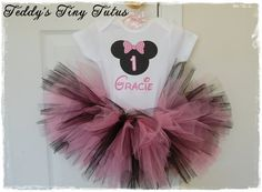 Pink Minnie Mouse Birthday Tutu Set Personalized Minnie Mouse Onesie Disney Birthday Outfit Baby 6 9 12 or 18 Months on Etsy, $38.50