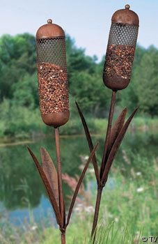 Cattail Bird Feeder Yard Stakes -