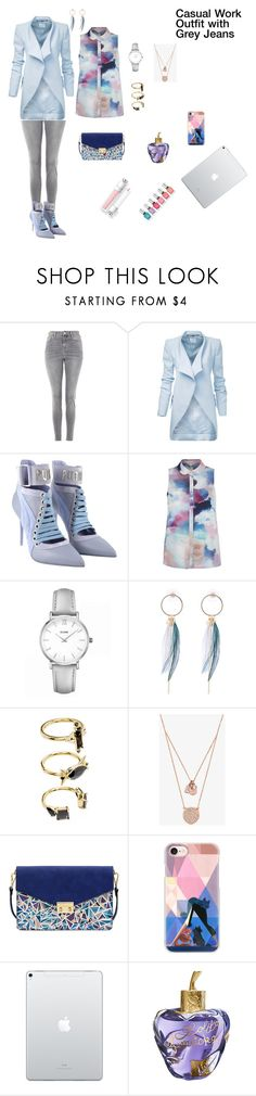 Casual Work Outfit with Grey Jeans by rebeccadavisblogger on Polyvore featuring Topshop, Puma, Mellow World, CLUSE, Michael Kors, Noir Jewelry, Casetify and Lolita Lempicka