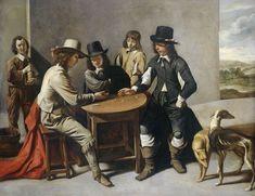 anoniem   Dice Players (The Gamblers), follower of Mathieu Lenain (le cadet), 1630 - 1680   De dobbelaars. Drie dobbelende mannen gezeten rond een tafel, twee andere mannen kijken toe. Rechts twee honden. Een schets van een dergelijke compositie door Gabriel de Saint-Aubin in de collectie van de Bibliothèque Nationale te Parijs.