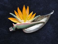 Vintage Ming's of Honolulu Hawaii Sterling Silver Tinted Ivory Bird of Paradise Pin