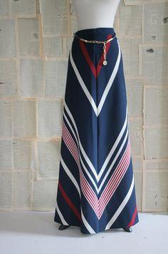 Amazing 1970s Chevron Print Maxi Skirt with Matching Belt $68.00